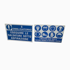 Industrial Italian Signs, 1990s, Set of 2