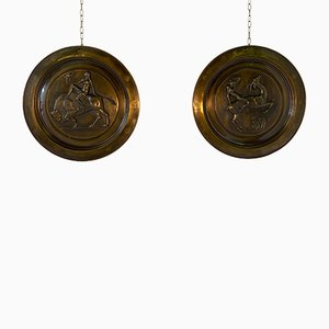 Art Deco Italian Decorative Brass Plates, 1940s, Set of 2
