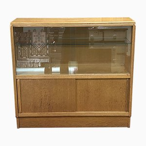 English Blond Oak Display Cabinet with Sliding Doors, 1930s