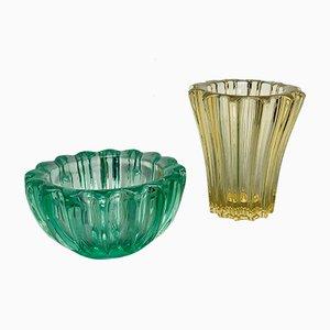 Gelbgrüne Kristallvase und Vide Poche Set von d'Avesn, 1930er