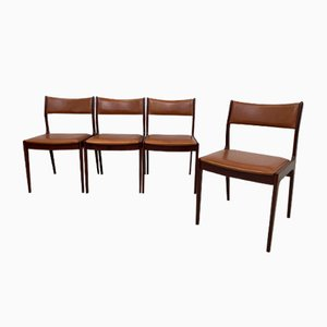 Rosewood and Tan Leather Dining Chairs by Johannes Andersen for Uldum Møbelfabrik, 1960s, Set of 4
