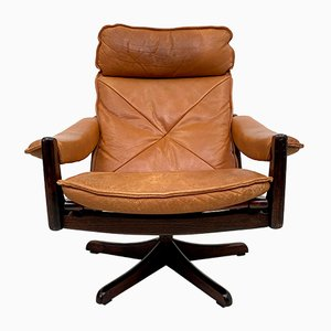Rosewood and Tan Leather Reclining Lounge Chair from Soda Galvano, 1970s