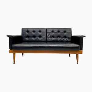 British Teak and Black Leatherette 2-Seater Daybed, 1960s