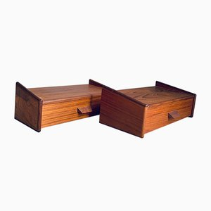 Mid-Century Floating Teak Nightstands in the Style of Poul Volther, Set of 2