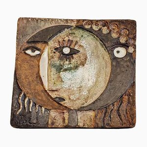 Sun and Moon Wall Plate by Helmut Friedrich Schäffenacker for Atelier Schäffenacker, 1950s