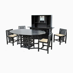 Vintage Dining Table & Chairs Set by Charles Rennie Mackintosh for Cassina, Set of 6