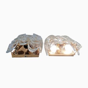 Gilded Brass and Crystal Glass Sconces by Ernst Palme for Palwa, 1960s, Set of 2