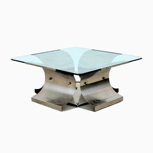 Steel and Glass Coffee Table by Francois Monnet for Kappa, 1970s