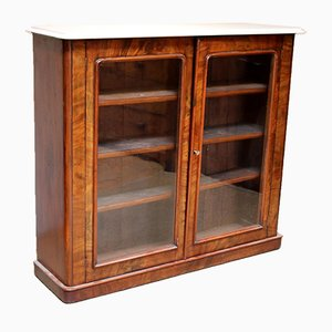 Mahogany Marble Top Bookcase, 1880s