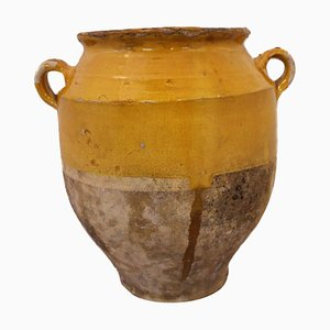 Antique French Terracotta Confit Pot with Yellow Glaze