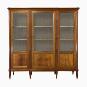 Vintage French Louis XVI Revival Mahogany Vitrine Bookcase, 1970s