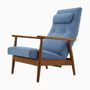 Danish Beech Reclining Easy Chair, 1960s