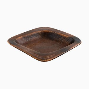 Square Dish in Glazed Stoneware by Gunnar Nylund for Rörstrand, 1960s