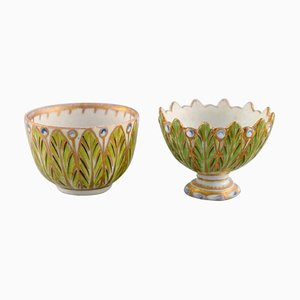 Antique Meissen Miniature Cups or Bowls in Hand-Painted Porcelain, Set of 2