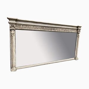 19th Century English Carved Wood and Gesso Painted Overmantle Mirror