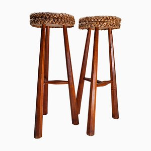 Barstools by Adrien Audoux & Frida Minet, France, 1950s, Set of 2