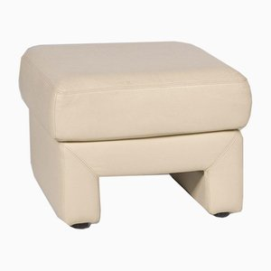 Cream Leather Stool from Musterring