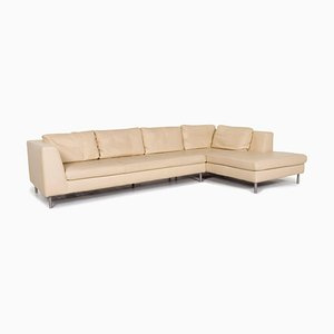 Cream Leather Corner Sofa from Ewald Schillig