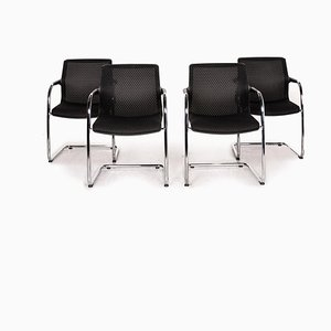 Black Fabric Unix Cantilever Dining Chairs from Vitra, Set of 4