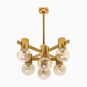 Large Brass and Glass Light Fixture in the Style of Jakobsson, 1960s