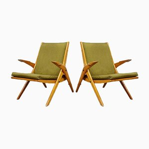 Scissor Leg Armchairs, 1960s, Set of 2