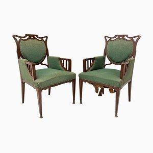 Antique Art Nouveau Oak Armchairs, 1910, Set of 2