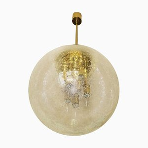 Large Frosted Glass and Brass Pendant Lamp from Doria Leuchten, 1960s
