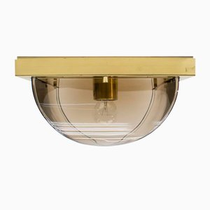 Smoked Glass and Brass Flush Mount from Limburg, 1960s