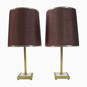 Large Brass and Marble Table Lamps, 1960s, Set of 2