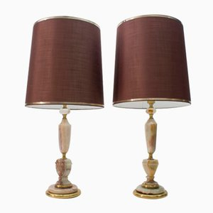 Large Brass and Onyx Table Lamps, 1960s, Set of 2