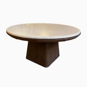Vintage Travertine Leather Coffee Table from de Sede