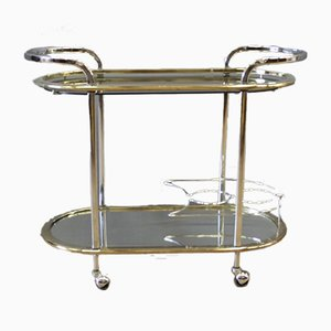 Chrome-Plated and Gilded Metal Rolling Cabinet, 1970s