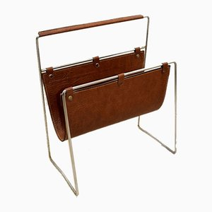 Italian Chrome-Plated and Leather Magazine Rack, 1970s