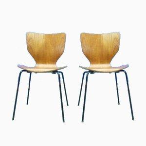 Dänische Schichtholz Esszimmerstühle, 1960er, 2er Set