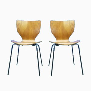 Danish Plywood Dining Chairs, 1960s, Set of 2