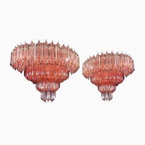 Vintage Murano Glass Quadriedri Sconces, 1970s, Set of 2