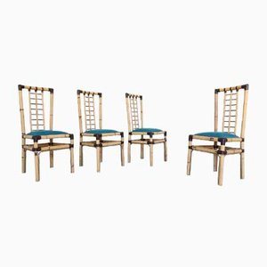 Vintage Bamboo, Brass, and Fabric Dining Chairs from Studio Smania Interni, Set of 4