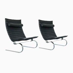 Vintage Leather and Steel Lounge Chairs, Set of 2
