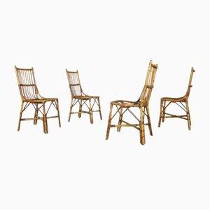 Mid-Century Bambus Esszimmerstühle, 4er Set