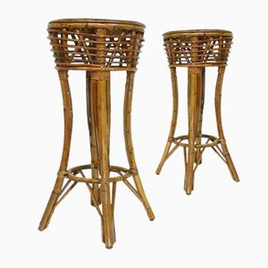 Mid-Century Bamboo Stools, Set of 2