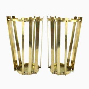 Mid-Century Brass Umbrella Stand, Set of 2