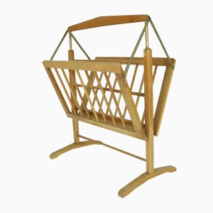 Mid-Century Beech and Brass Magazine Rack