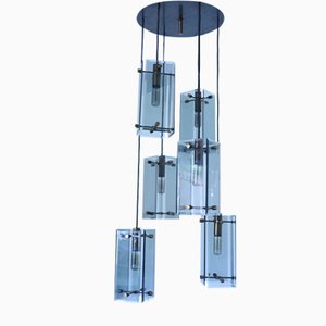Mid-Century Smoked Glass Ceiling Lamp from Cristal Art