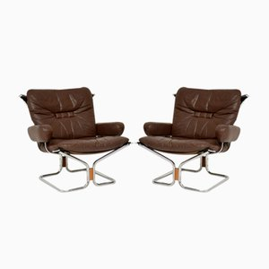 Leather and Chrome Armchairs by Ingmar Relling, 1960s, Set of 2