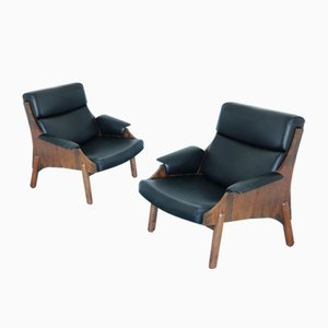 Mid-Century Rosewood and Leatherette Lounge Chairs, Set of 2