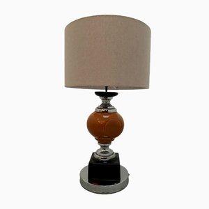 Lámpara de mesa Mid-Century de cerámica y metal cromado, años 70