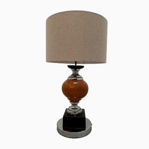 Mid-Century Ceramic and Chrome-Plated Table Lamp, 1970s
