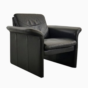 Vintage Danish Black Leather Lounge Chair from Skalma