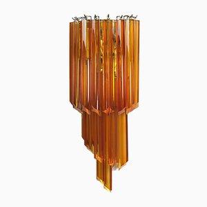 Appliques Quadrifriantes Vintage en Verre de Murano Ambré, 1970s, Set de 2