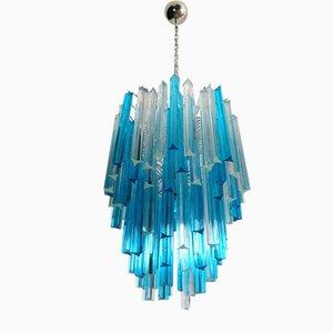 Lampada da soffitto Triedri vintage in vetro di Murano blu e trasparente, anni '80